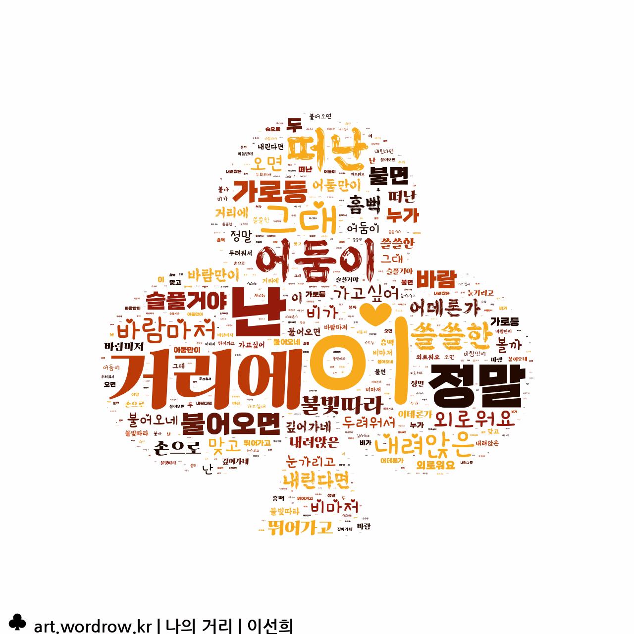 워드 클라우드: 나의 거리 [이선희]-21